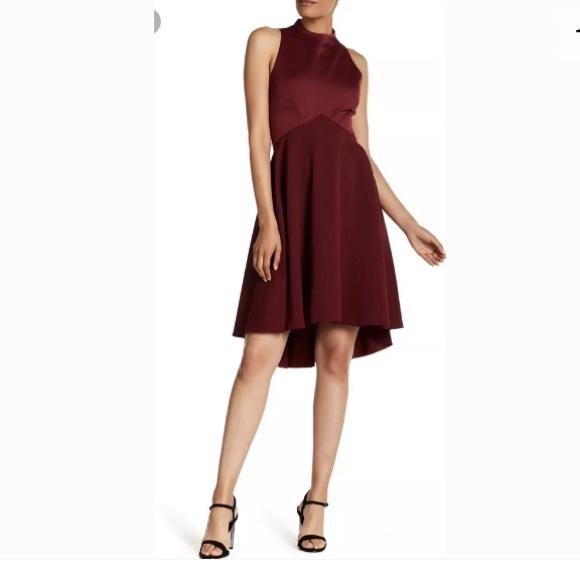 69719ccca85 TED BAKER LONDON KANDAL Hi-Lo Hem Dress Burgundy NWT